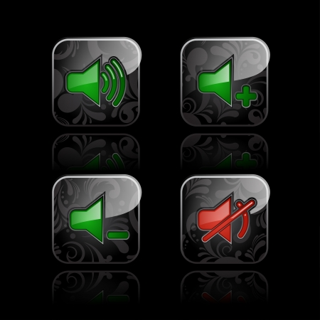 Set of glossy media player icons  set  3 Stock Vector - 15480786