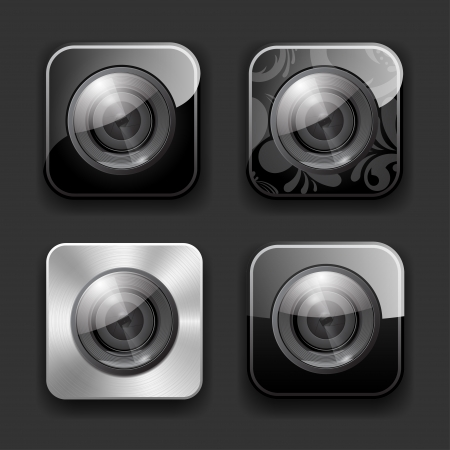 Set of high-detailed camera apps icons  Vector