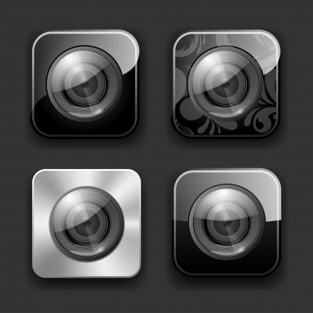 camera lens: Set of high-detailed camera apps icons  Illustration
