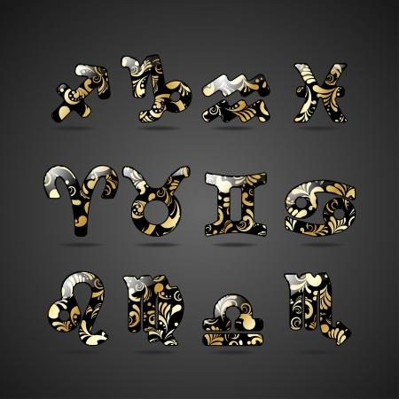 escorpio: Conjunto de signos del zodiaco de oro con ilustración floral adornado aislado sobre fondo gris