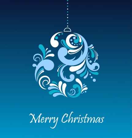 Greeting card - floral Christmas ball, illustration Vector