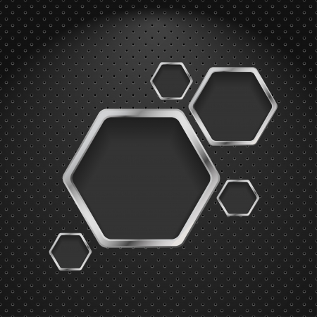 Abstract metal background with hexagons design template Vector