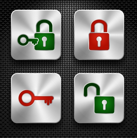 safe lock: Set of lock and key icons  Steel buttons over metallic textured background Illustration
