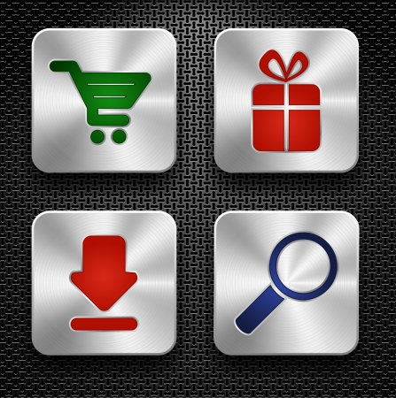 Set of shopping icons  Steel buttons over metallic textured background Vector
