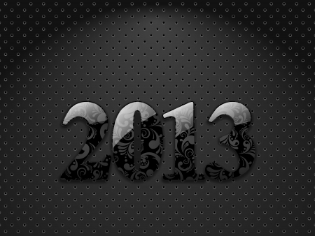 New year 2013, metallic textured background with floral ornate digits Stock Vector - 16236041