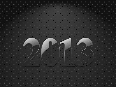 New year 2013, metallic textured background with glass digits Vector