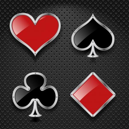playing card symbols: Conjunto de elementos de casino - jugar s�mbolos de la tarjeta sobre el fondo met�lico Vectores