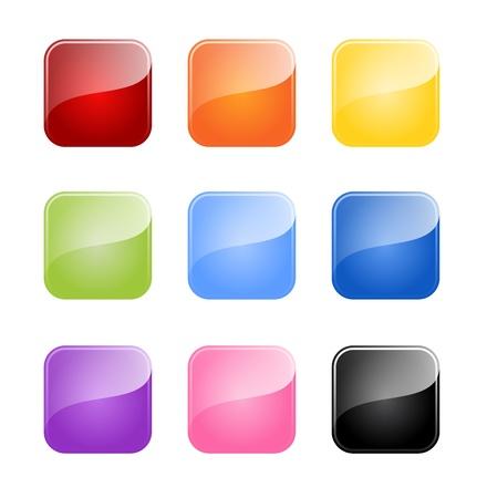 kare: Beyaz zemin üzerine izole renkli parlak boş bir düğme Set Çizim