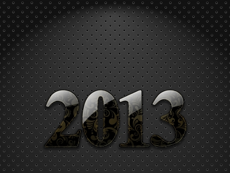 New year 2013, metallic textured background with floral ornate digits Vector