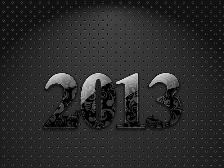 New year 2013, metallic textured background with floral ornate digits Stock Vector - 16477908