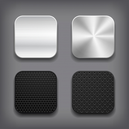black metallic background: Apps metal icon set  Illustration