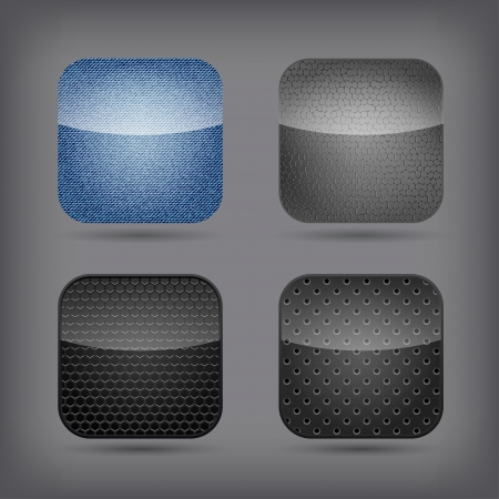 App icon set - jeans, metallic and leather Vector