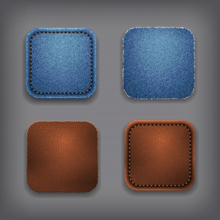 App icon set - jeans and leather Stock Vector - 17449153