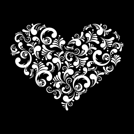 illustration of a beautiful abstract heart isolated on black background Stock Vector - 17449133