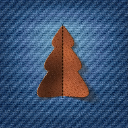 Jeans background with leather Christmas tree  Vector