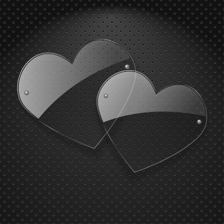Vector two glass hearts over metal background Stock Vector - 17449149