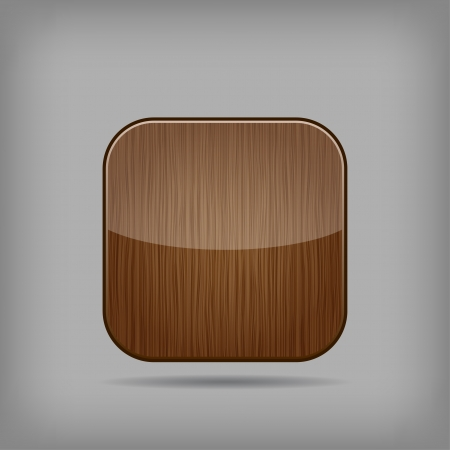 glossy wooden app button Stock Vector - 17449150