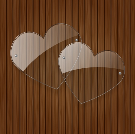 two glass hearts over wooden background  Vector