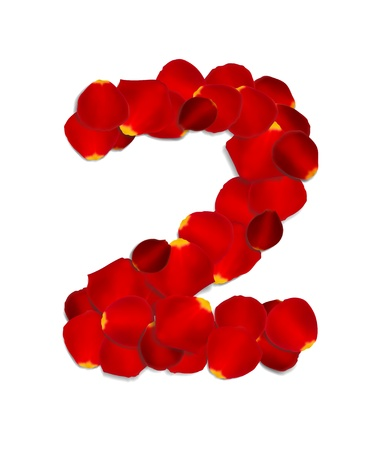 Number 2 made from red rose petals Stock Vector - 17559786