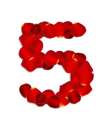 five petals: Number 5 made from red rose petals Illustration