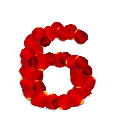 Number 6 made from red rose petals Stock Vector - 17559795