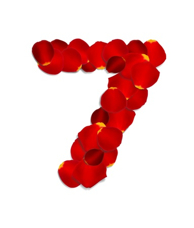 Number 7 made from red rose petals Stock Vector - 17559792