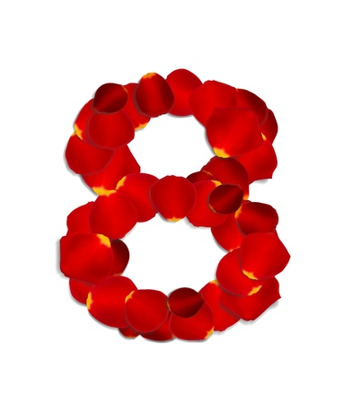 Number 8 made from red rose petals Stock Vector - 17559798