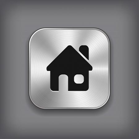 Home icon - vector metal app button