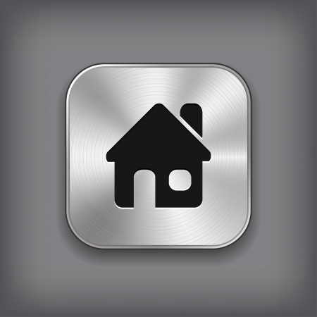home button: Home icon - vector metal app button