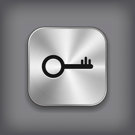 computer key: Key icon - vector metal app button Illustration