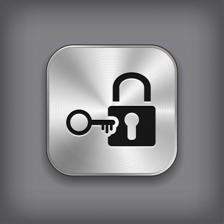 lock: Lock icon - vector metal app button