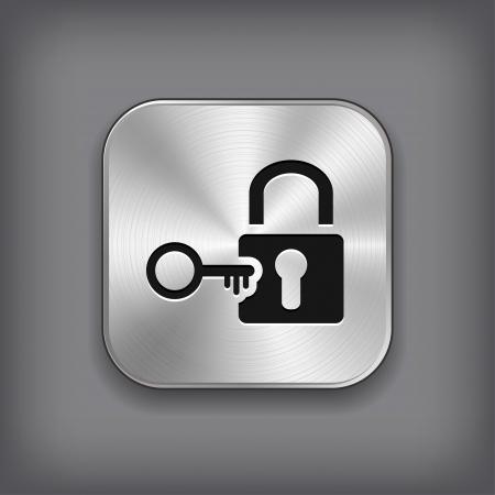 Schloss-Symbol - Vektor-Metall-App-Taste