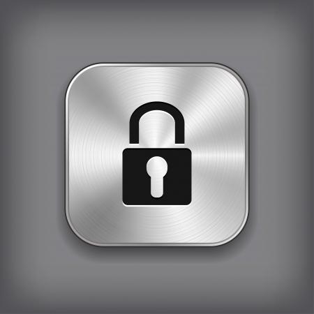 개인 정보 보호: 자물쇠 아이콘 - 벡터 금속 앱 버튼