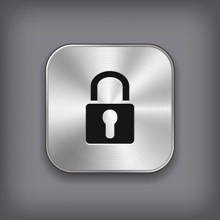 private security: Lock icon - vector metal app button