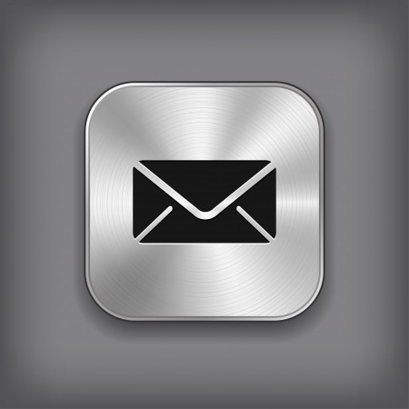 mail icon: Mail icon - vector metal app button