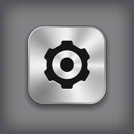 square buttons: Gear icon - vector metal app button Illustration