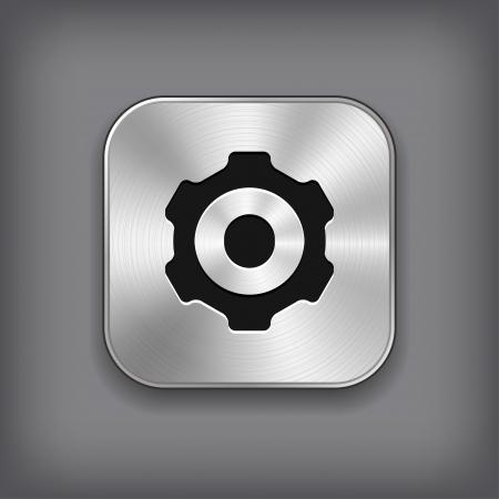 gear cog: Gear icon - vector metal app button Illustration