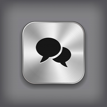Speech icon - vector metal app button Vector