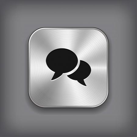 buttons web: Speech icon - vector metal app button Illustration