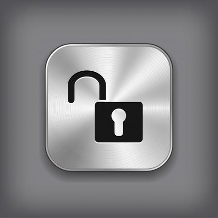 close button: Unlock icon - vector metal app button