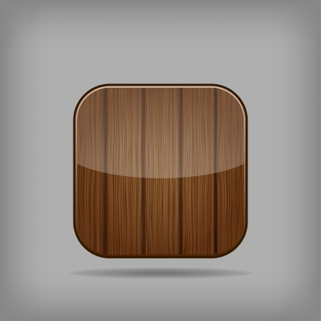 Vector glossy wooden app button Stock Vector - 17894710