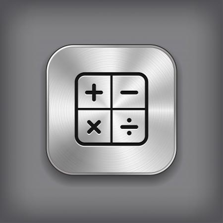 calculator: Calculator icon - vector metal app button