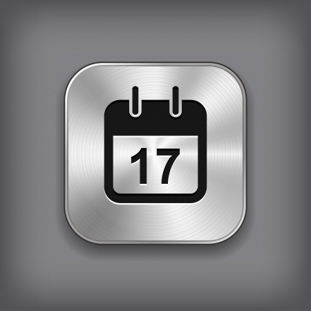 Calendar icon - vector metal app button Stock Vector - 18226130