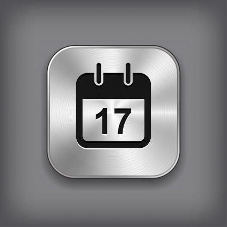 calendar icon: Calendar icon - vector metal app button