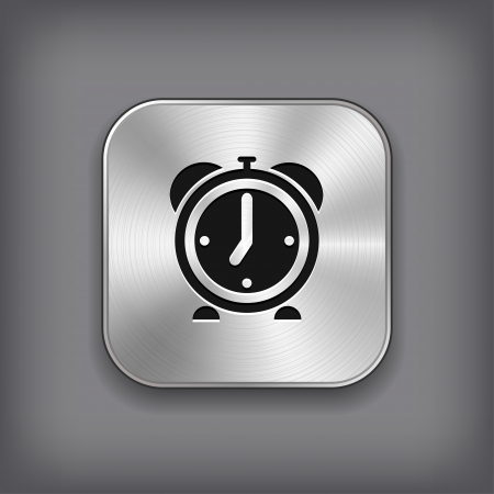 Alarm clock icon - vector metal app button Stock Vector - 18226140