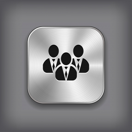 User group network icon - vector metal app button