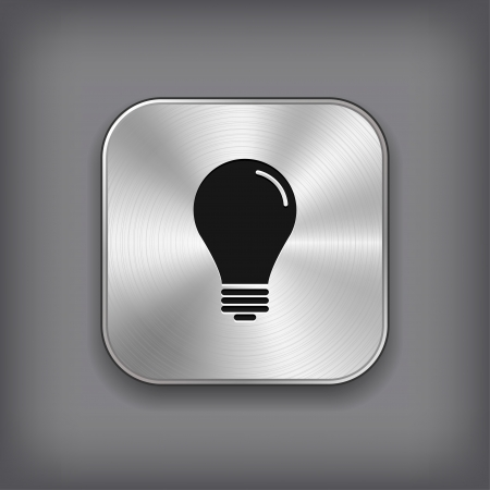 Light bulb icon - vector metal app button Vector
