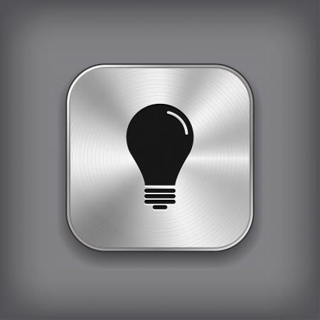 metal light bulb icon: Light bulb icon - vector metal app button