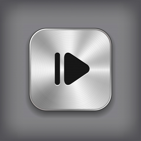 metal music: Media player icon - vector metal app button Illustration