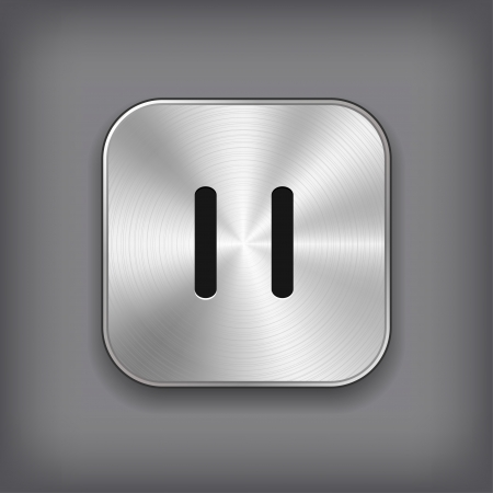 media player: Mail icon - vector metal app button